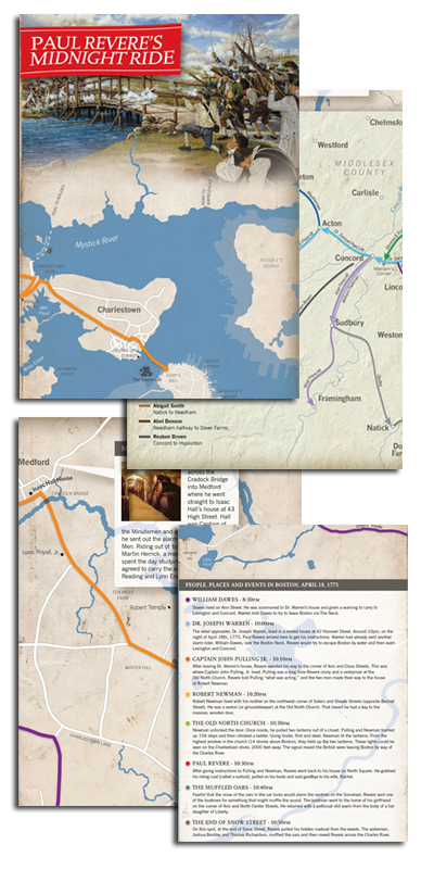 images of Paul Revere's Midnight Ride Map